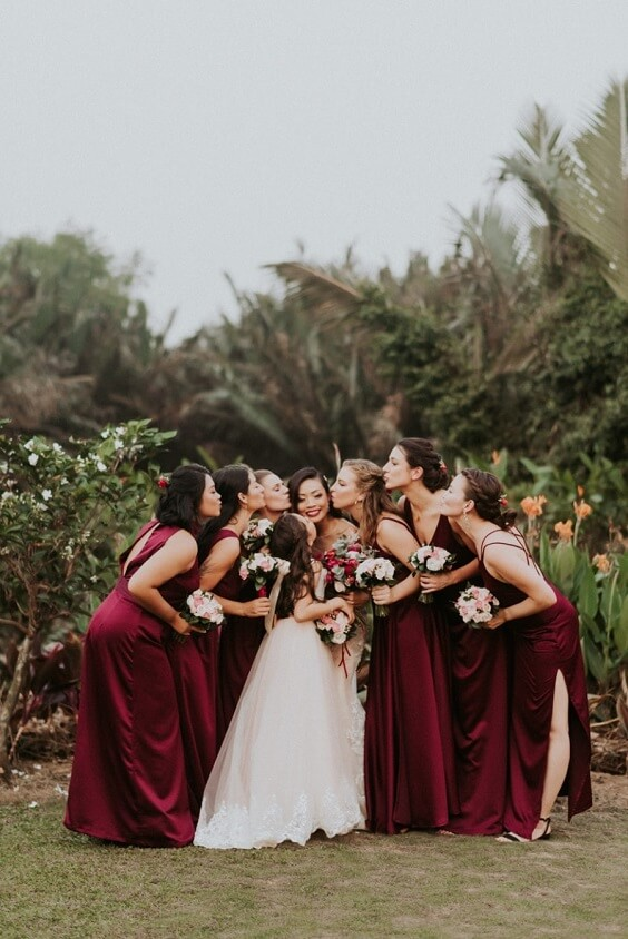burgundy bridesmaid dresses and white bridal gown for fall wedding colors 2022 burgundy and blush