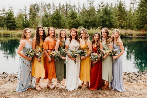 rust and yellow bridesmaid dresses for fall wedding colors 2022 rust and yellow