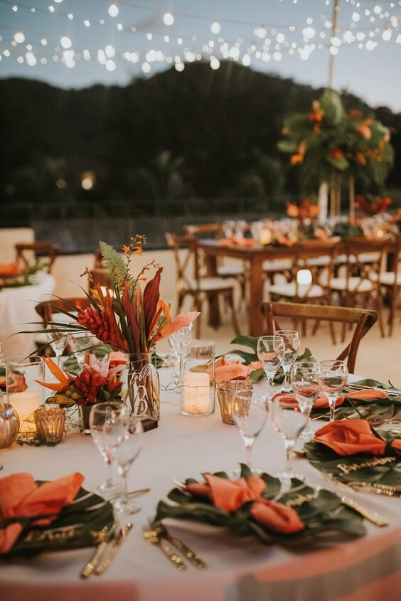 rust and yellow wedding table setting for fall wedding colors 2022 rust and yellow