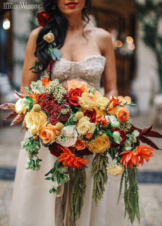 rust wedding bouquet for fall wedding colors 2022 rust and yellow