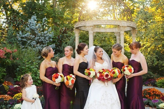 purple bridesmaid dresses for fall wedding colors 2022 purple and yellow