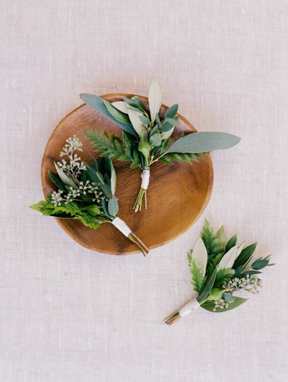 green boutonniere for fall wedding colors 2022 green and grey
