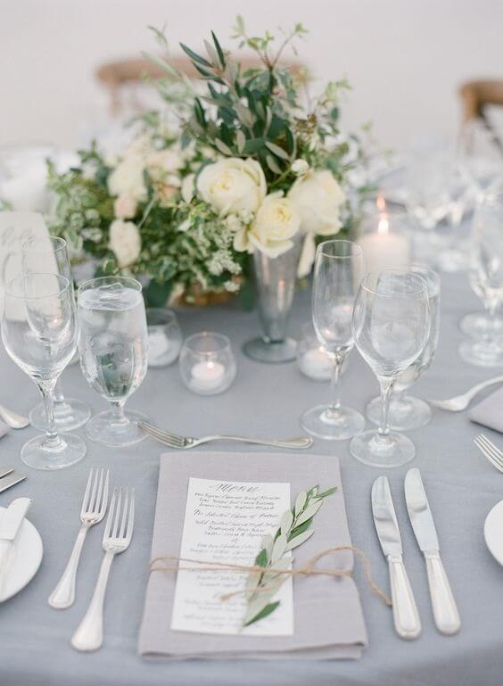 white and grey wedding table decor for fall wedding colors 2022 green and grey