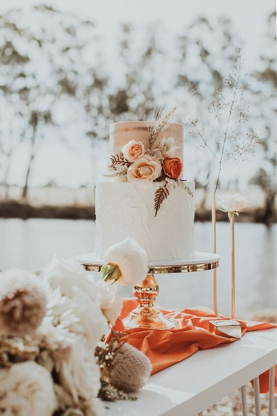 apricot white wedding cake for fall wedding colors for 2022 lavender and apricot