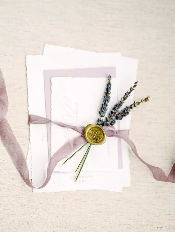 invitation suite with lavender for fall wedding colors for 2022 lavender and apricot