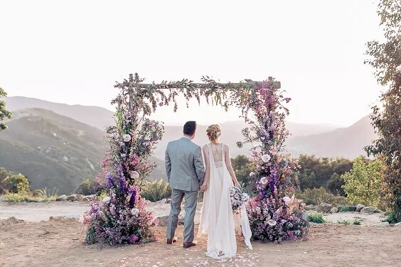 lavender wedding ceremony arch for fall wedding colors for 2022 lavender and apricot