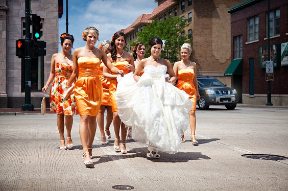tangerine bridesmaid dresses for summer wedding color 2022 tangerine yellow and fuschia