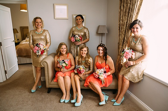 coral and gold mismatched bridesmaid dresses for summer wedding color 2022 coral gold and mint