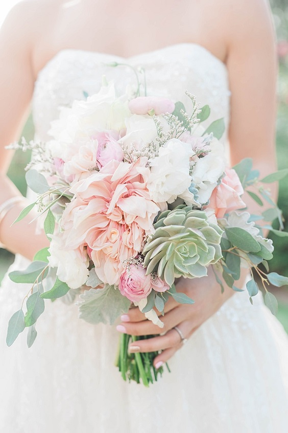 blush flower and sage greenery bouquets for summer wedding color 2022 blush and sage