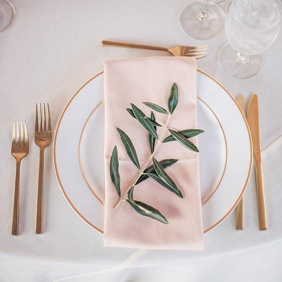 blush napkin sage leaves decoration for summer wedding color 2022 blush and sage