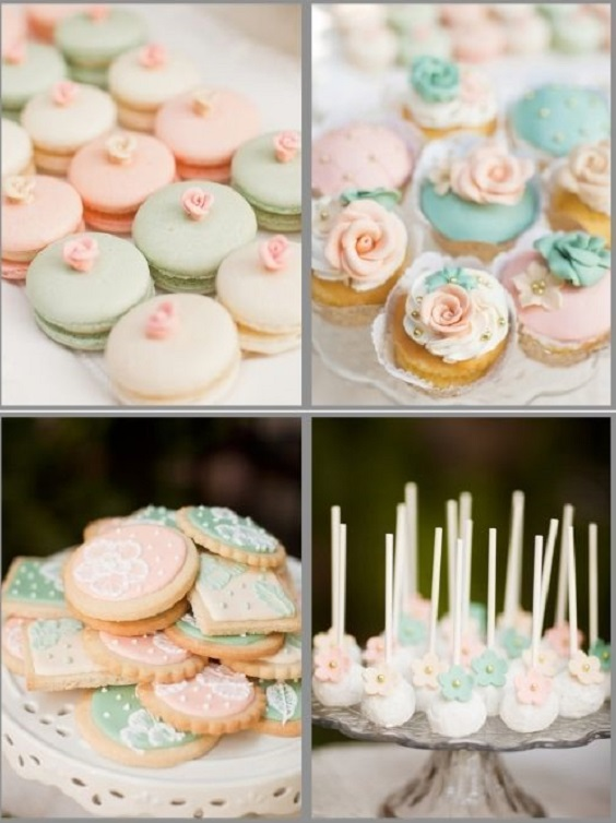 sage and blush cookies cupcakes macaroon for summer wedding color 2022 blush and sage