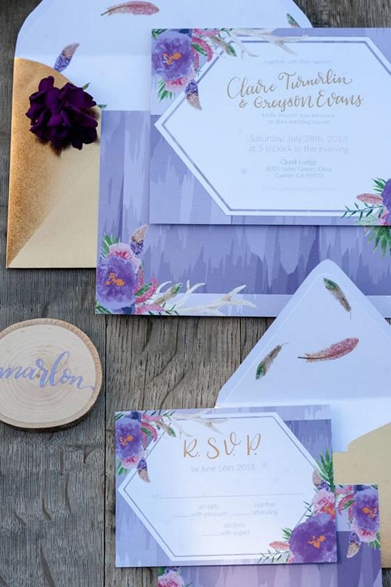 purple wedding invitetes for summer wedding color 2022 purple and khaki colors