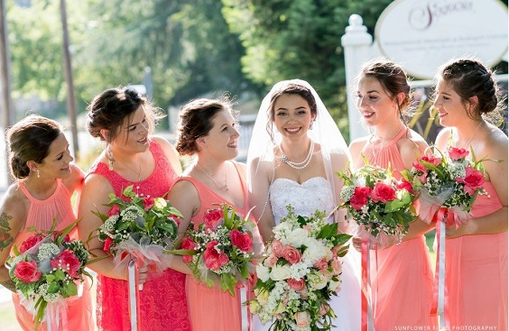 coral bridesmaid dresses white bridal gown for summer wedding color 2022 coral and grey colors