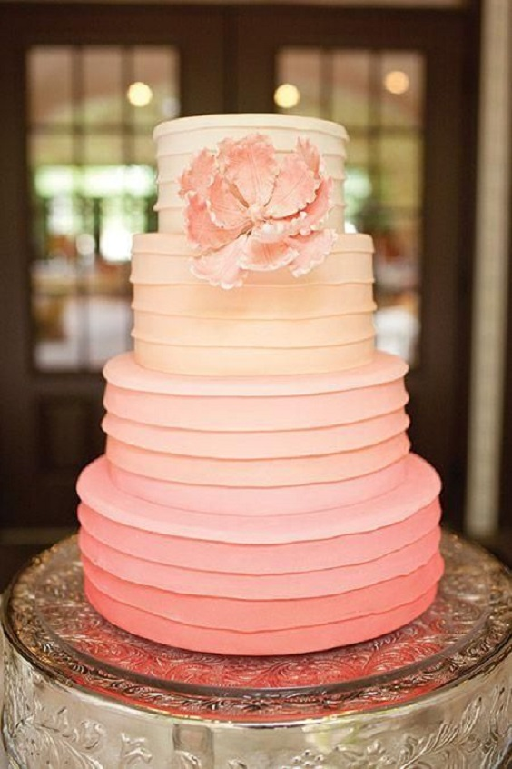 coral wedding cake for summer wedding color 2022 coral and grey colors