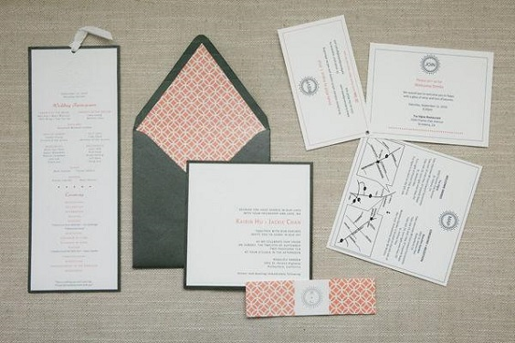 grey wedding invites cover coral invitations for summer wedding color 2022 coral and grey colors