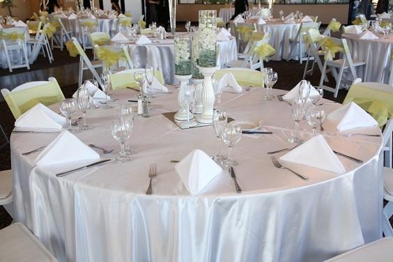 silver wedding tablecloth yellow chair sash for summer wedding color 2022 yellow and silver colors