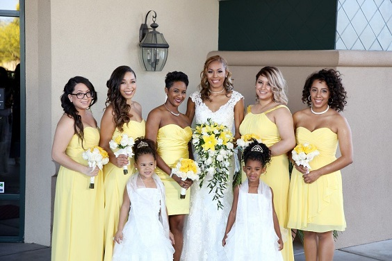 yellow bridesmaid dresses white bridal gown for summer wedding color 2022 yellow and silver colors