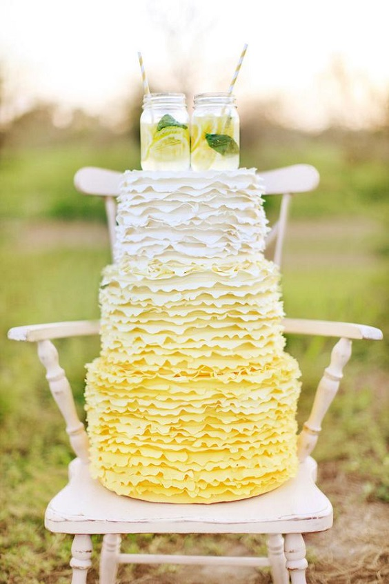 yellow wedding cake for summer wedding color 2022 yellow and silver colors