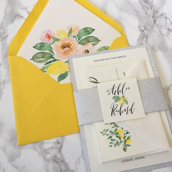 yellow wedding invites silver waistband for summer wedding color 2022 yellow and silver colors