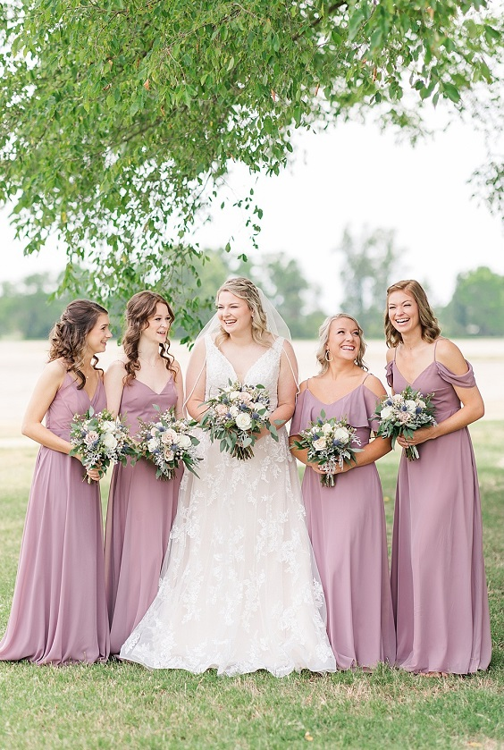 mauve bridesmaid dresses white bridal gown for summer wedding color 2022 mauve and grey colors