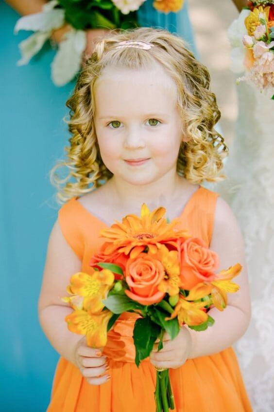 orange flower girl dress for fall wedding colors for 2022 teal and orange