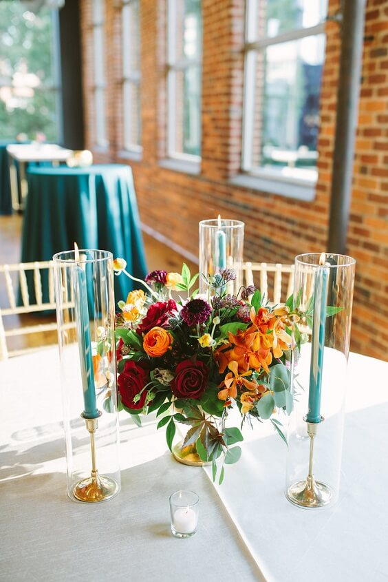 teal candles for fall wedding colors for 2022 teal and orange