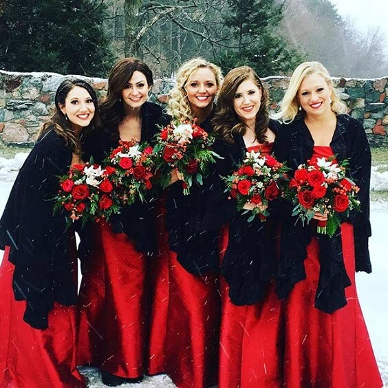 red bridesmaid dresses for winter wedding colors 2022 red and blue