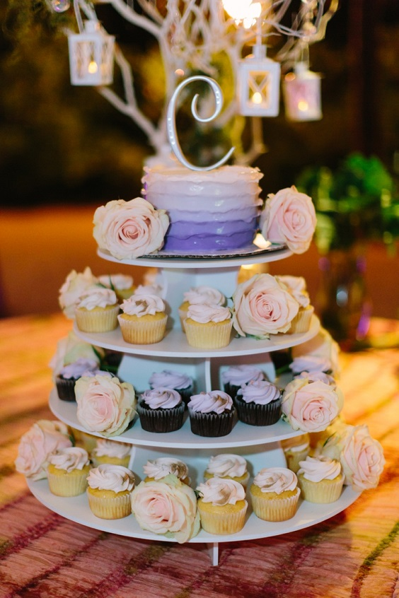 wedding cupcakes for spring wedding color palettes yellow pink purple colors