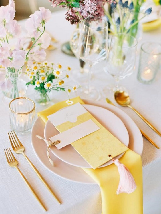 yellow napkin for spring wedding color palettes yellow pink purple colors
