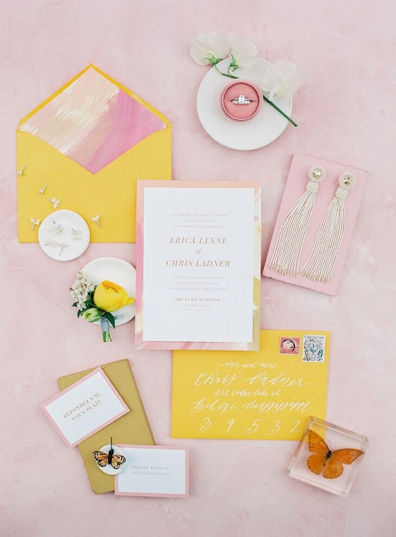 yellow pink wedding invites for spring wedding colors