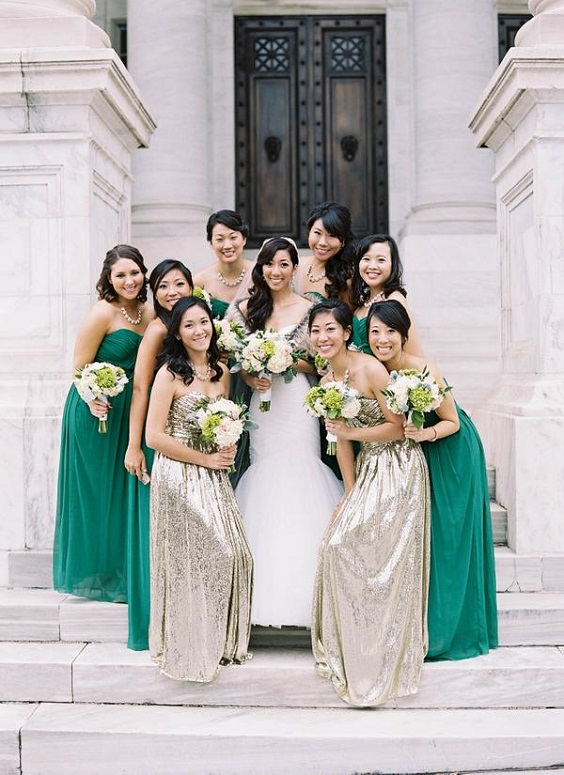 emerald bridesmaid dresses gold bridesmaid dresses for spring wedding color palettes emerald gold pink colors