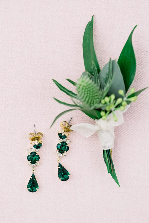 emerald earrings and boutonnieres for spring wedding color palettes emerald gold pink colors