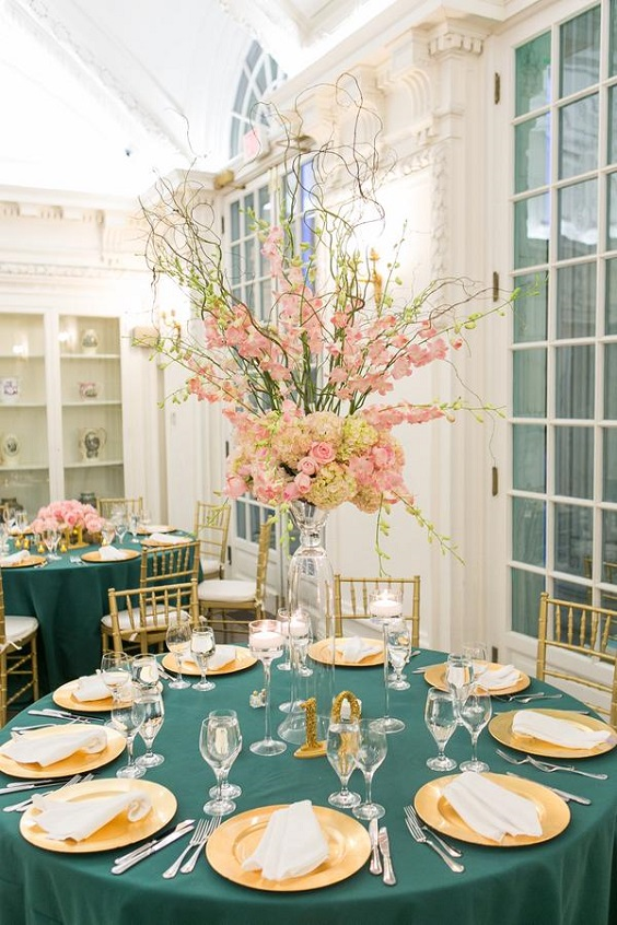 emerald tablecloth pink centerpieces gold wedding plates for spring wedding color palettes emerald gold pink colors