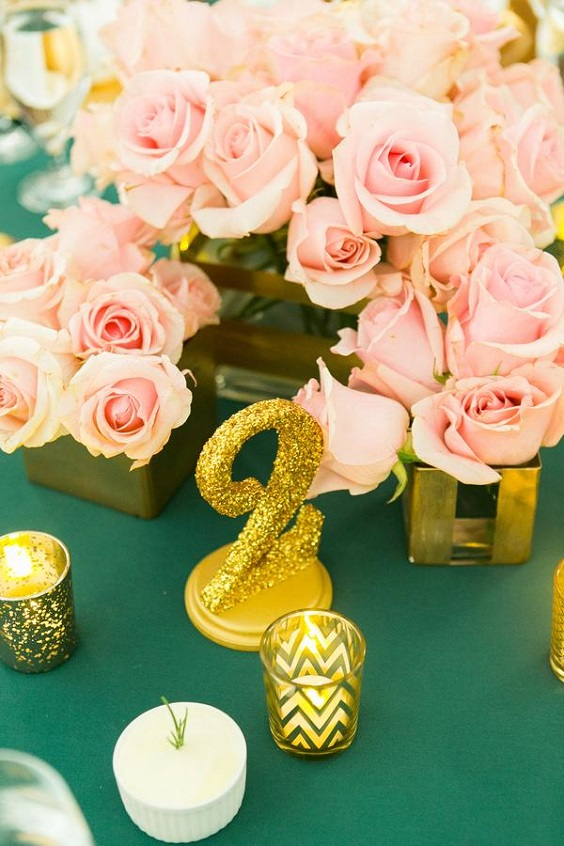 emerald tablecloth pink flowers gold table number signs for spring wedding color palettes emerald gold pink colors