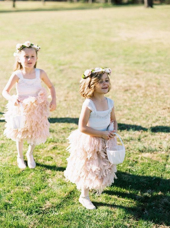 pink and white flower girl dresses for spring wedding color palettes emerald gold pink colors