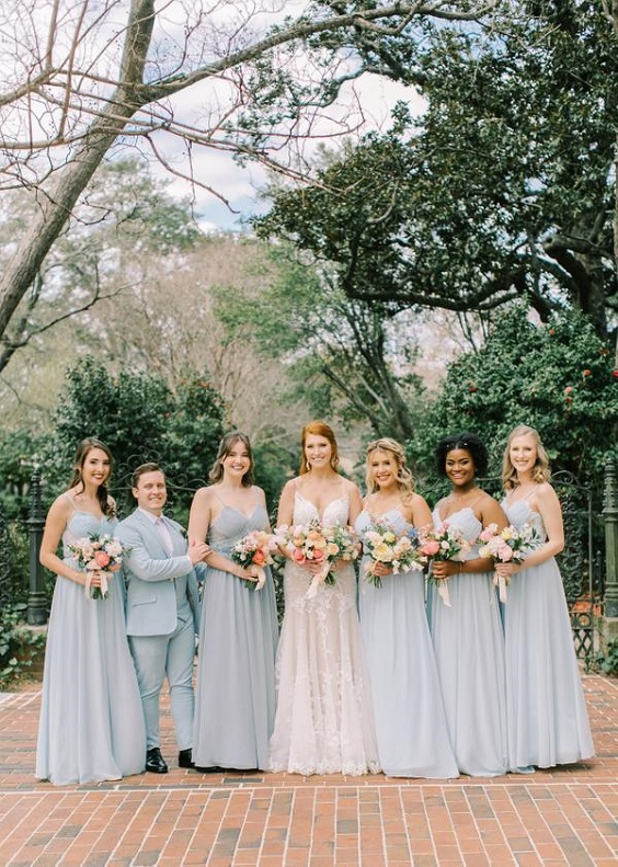 light blue bridesmaid dresses for spring wedding colors 2022 light blue coral yellow colors