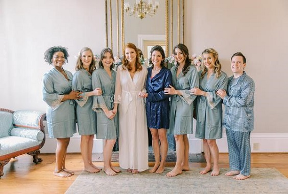 light blue bridesmaid robes for spring wedding colors 2022 light blue coral yellow colors