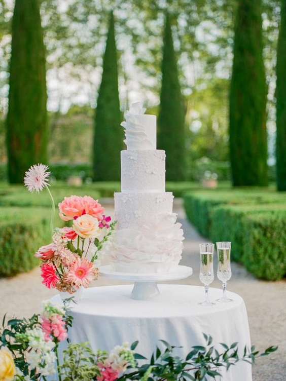white wedding cake doracted with coral yellow flowers for spring wedding colors 2022 light blue coral yellow colors