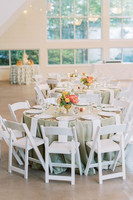 sage wedding tablecloth coral and peach flower centerpieces for spring wedding colors 2022 coral peach sage colors