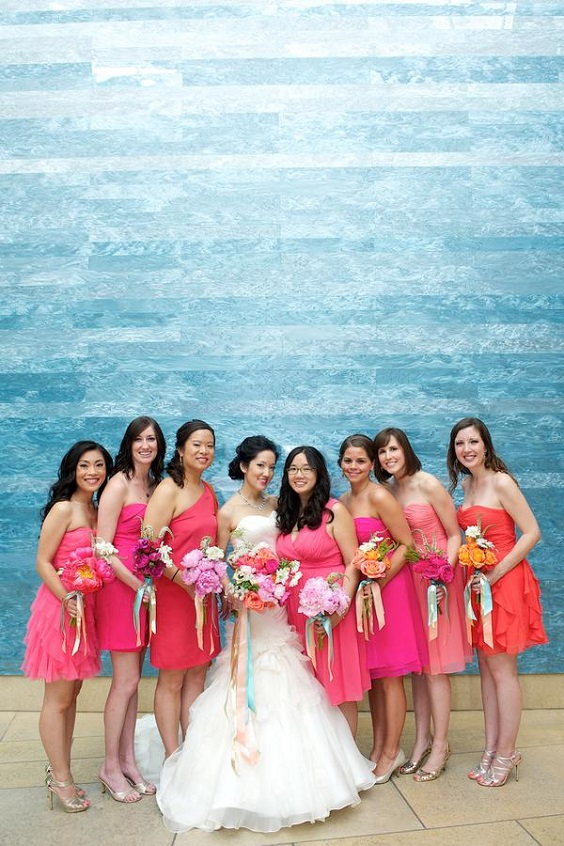 fuschia bridesmaid dresses for sping wedding colors 2022 fuschia turquoise gold colors