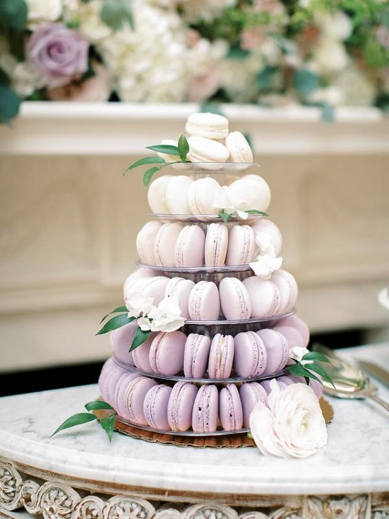 wedding macaroons for spring wedding colors lilac lavender white colors