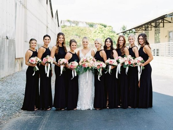 black bridesmaid dresses white bridal gown for spring wedding colors 2022 black white pink colors