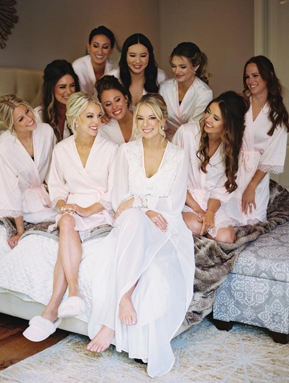 white bridal and bridesmaids robes for spring wedding colors 2022 black white pink colors