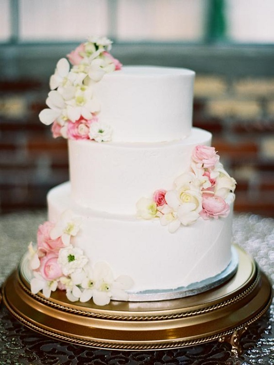 white wedding cake dot with pink flowers for spring wedding colors 2022 black white pink colors