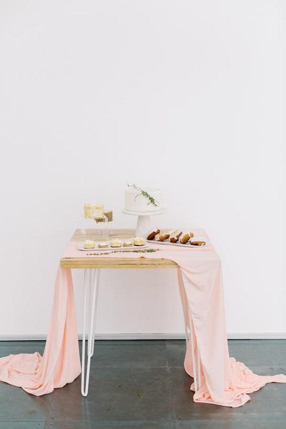 peach wedding table runner for spring wedding colors 2022 dusty blue peach greenery