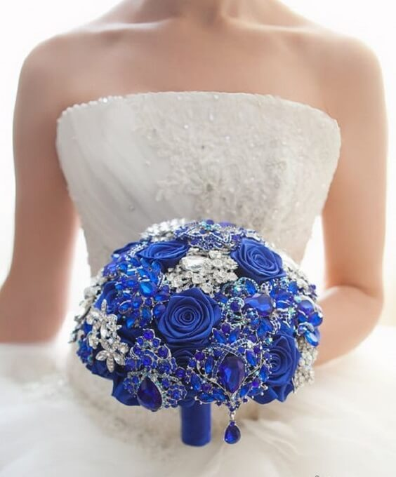 Royal Blue And Silver Wedding Flowers: Bright Royal Blue And Metallic Silver Winter Wedding Color