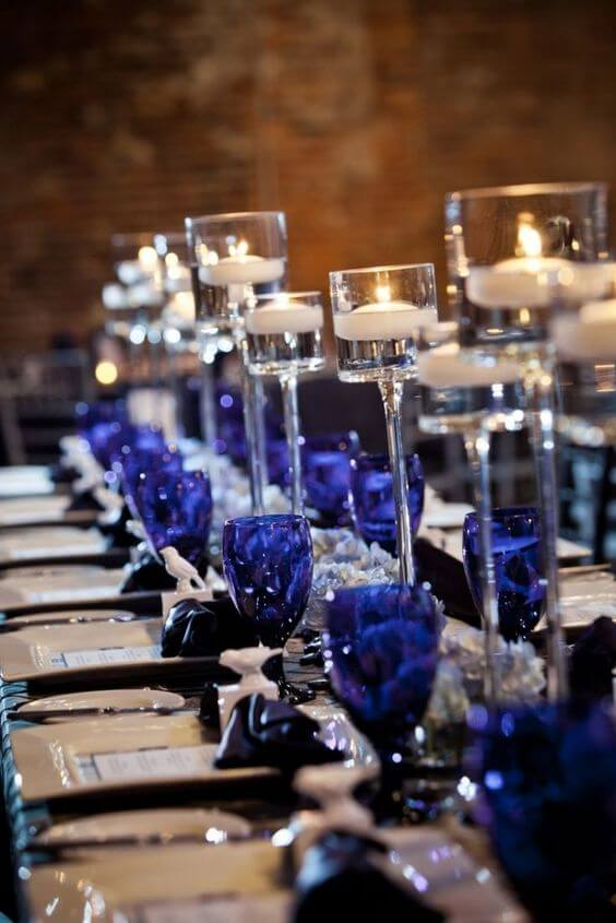 Bright Royal Blue And Metallic Silver Winter Wedding Color