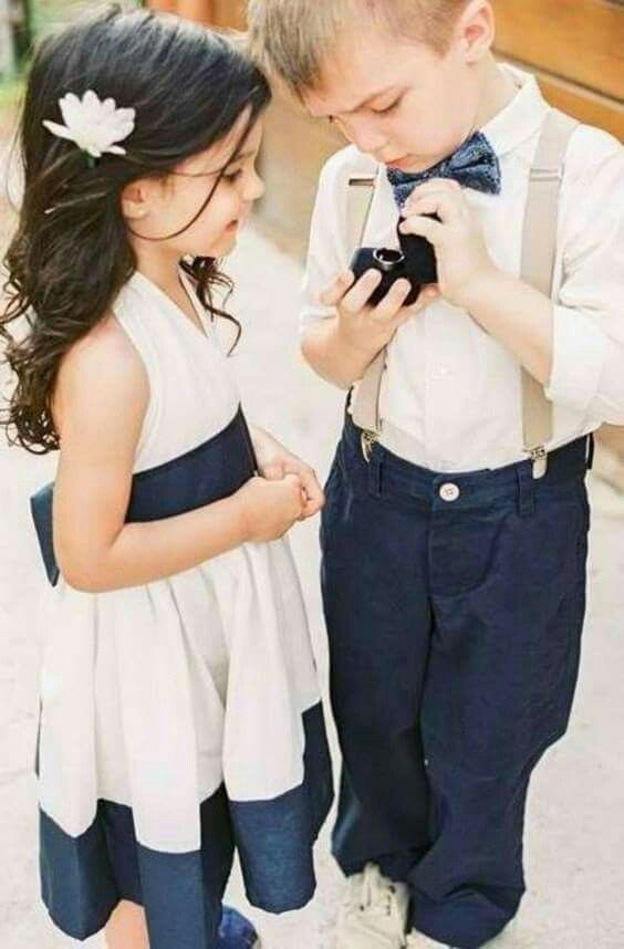 flower girl and ring bearer for Navy blue and Champagne Winter wedding