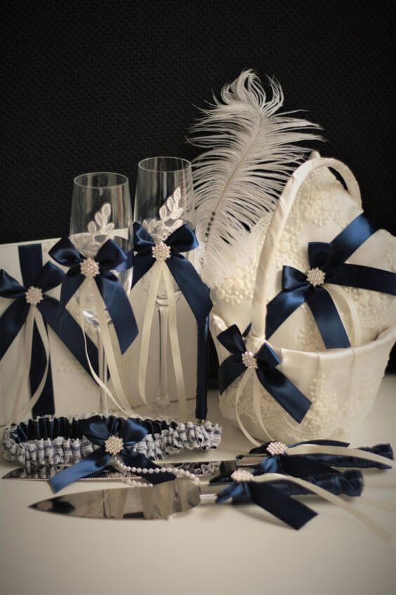 flower girl basket for Navy blue and Champagne Winter wedding