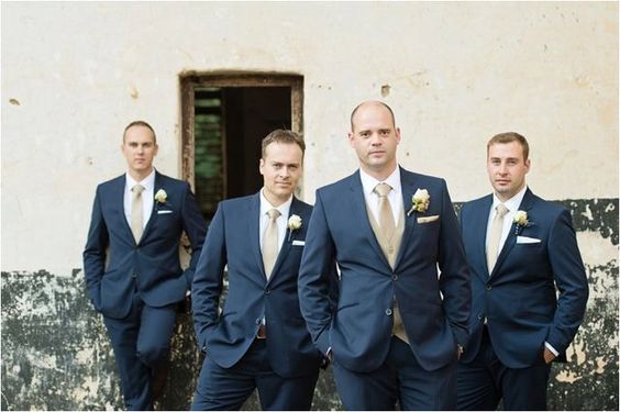 Navy Groom and groomsmen for Navy blue and Champagne Winter wedding